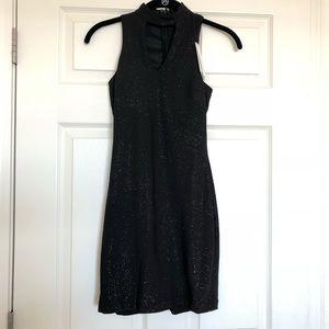 Sparkly Black Mod Mini Dress
